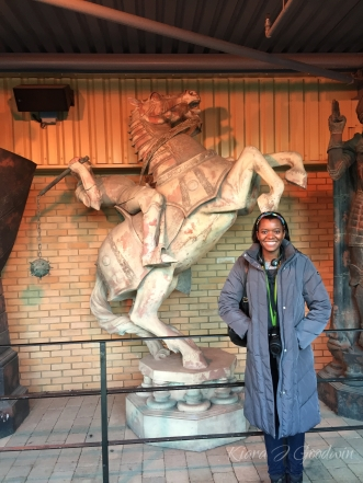 The chess pieces from the Sorcerer's Stone. Look at that cheesy smile. No shame.